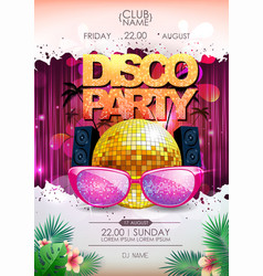 disco background disco ball summer party poster vector image