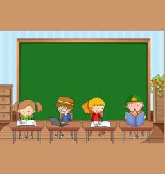 Empty blackboard in classroom scene with many vector