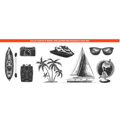 engraved style adventure and travel collection vector image