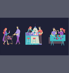 everyday routine scenes and spend time together of vector image