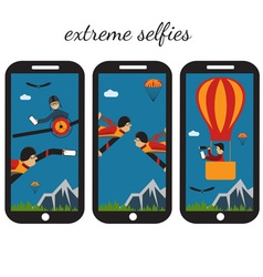 Extreme selfie flat design vector