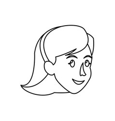 face woman head short hair smile outline vector image