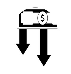 finance crisis icon black white vector image