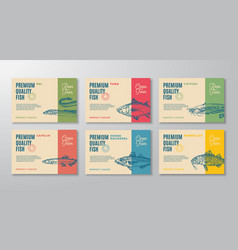Fish labels set abstract packaging design vector
