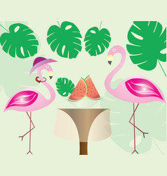 Flamingo couples eating watermelon - exotic leaves vector