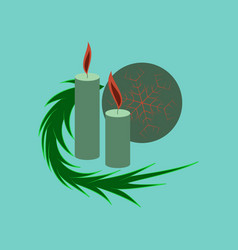 Flat on background of christmas balls and candles vector