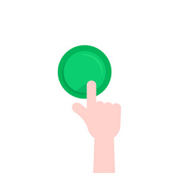 forefinger pushing on green button vector image