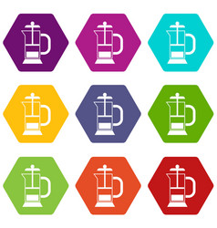 french press coffee maker icon set color vector image