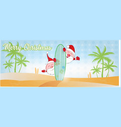 fun santa claus cartoon on beach with surf vector image