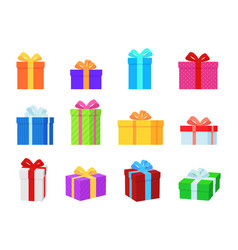 gift box colorful present boxes with bright vector image