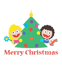 Girl and boy merry christmas gift tree vector