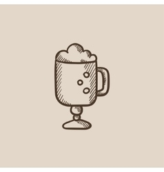 Glass mug with foam sketch icon vector image