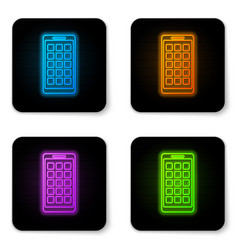 glowing neon mobile apps icon isolated on white vector image
