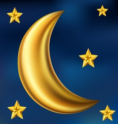 Gold moon and stars vector image
