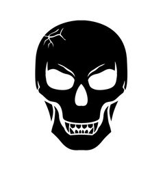 Halloween scary fanged skull vector