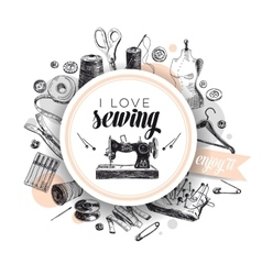 hand drawn sewing vector image
