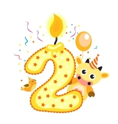 Happy Second Birthday Candle and Animals Isolated vector