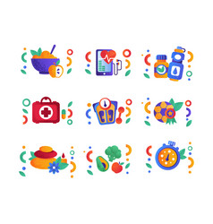 healthy lifestyle symbols set physical activity vector image