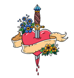 Heart decorated with flowers pierced with dagger vector