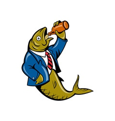 Herring fish business suit drinking beer bottle vector