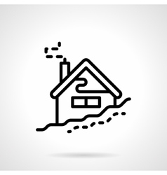 House in winter black line icon vector