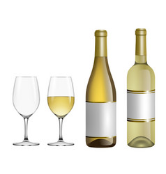 isolated white wine glasses and bottles vector image