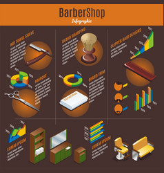 Isometric barber shop infographic template vector