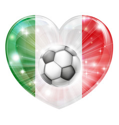 italy flag soccer heart flag vector image