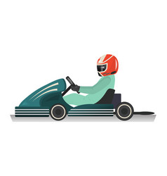 karting sportsman isolated icon vector image