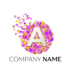 Letter a logo with purle particles and bubble dots vector