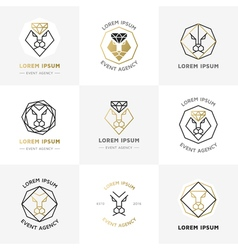 Lion diamond emblems vector