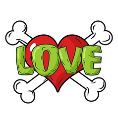 Love to death Symbol is red heart and crossbones vector