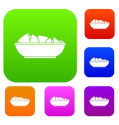 nachos in bowl set color collection vector image