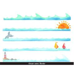 ocean wave with coastal life style border vector image