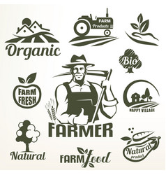 Organic bio or farm food emblems collection vector