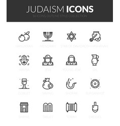 outline black icons set in thin modern style vector image