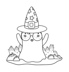 Outline ghost wearing glasses with witch hat in vector
