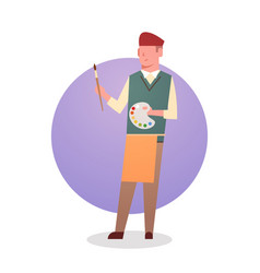 Painter man icon male artist hold paint brush vector
