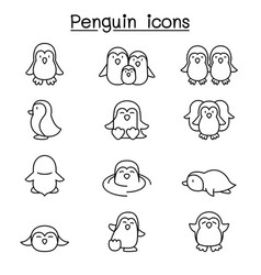 penguin icon set in thin line style vector image