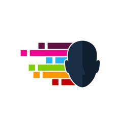 pixel art human head logo icon design vector image