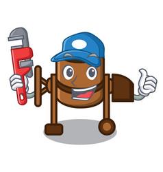 Plumber concrete mixer mascot cartoon vector