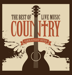 Poster on theme country music with guitar vector