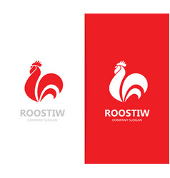red fire rooster and cock logo vector image