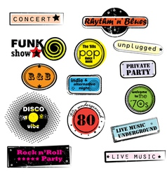 retro music stamps vector image