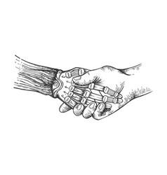 robot handshake sketch engraving vector image