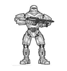 Robot soldier sketch engraving vector