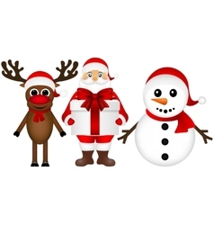 Santa claus with snowman and reindeer cartoon a vector
