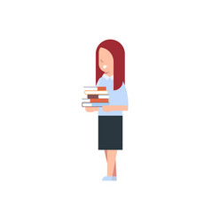 School girl holding stack of books isolated cute vector