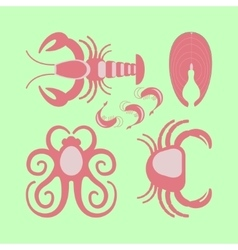 Seafood set in flat design vector image