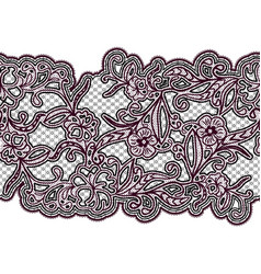 seamless lace ribbon black and purple floral vector image